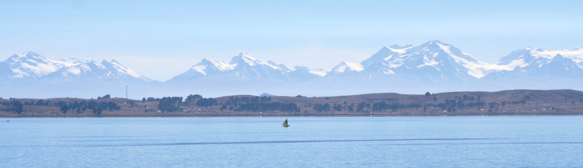 LAKE TITICACA AND THE CORDILLERA REAL. PERU