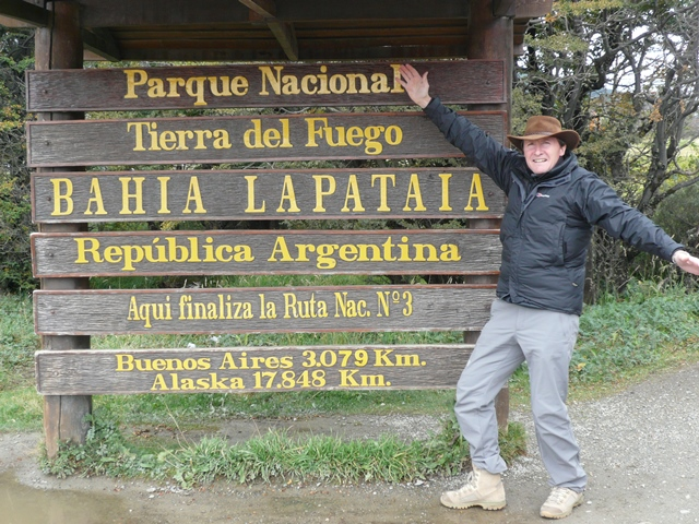 FEBRUARY 2012 IN SOUTHERN ARGENTINA. NOTICE IT IS 0NLY 17,848 KILOMETRES TO ALASKA AND YET IT TOOK US 100,000 KILOMETRES TO ALASKA. WHERE DID WE GO WRONG?